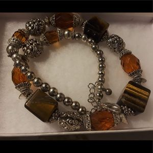 Vintage amber and tigers eye stone necklace